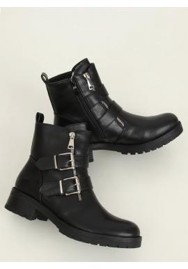 Kotníkové dámské boty černé barvy s přezkami