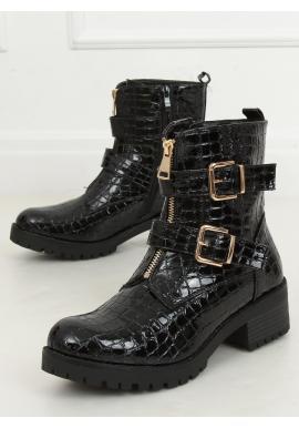 Černé lakované kozačky s motivem krokodýlí kůže pro dámy
