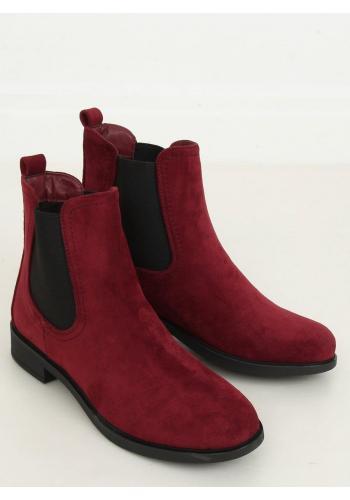 Dámské klasické boty s elastickými vložkami v bordové barvě