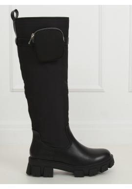 Černé vysoké kozačky s kapsičkou pro dámy