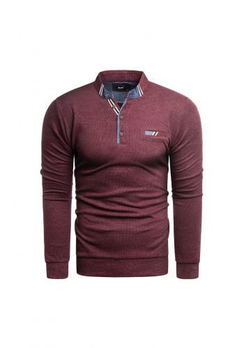 Pánský módní svetr se zapínaným výstřihem v bordové barvě
