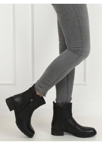 Černé módní boty se zipem pro dámy
