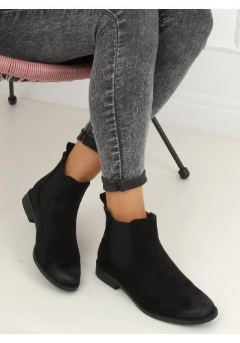 Dámské semišové boty s elastickými vložkami v černé barvě