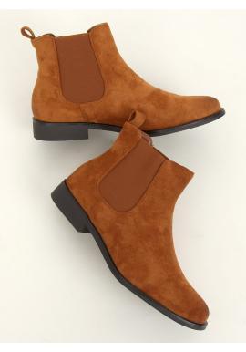 Semišové dámské boty hnědé barvy s elastickými vložkami