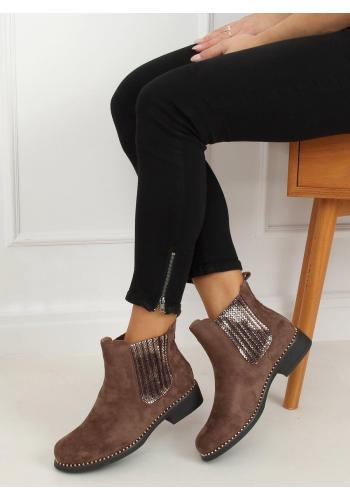 Hnědé semišové boty s korálky pro dámy
