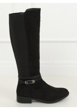 Klasické dámské kozačky černé barvy s přezkou