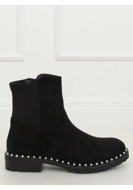 Dámské semišové boty s perlami v černé barvě