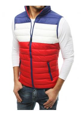 Pánská prošívaná vesta na přechodné období v červeno-modré barvě