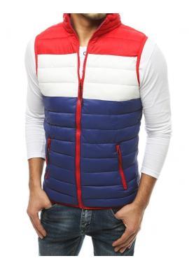Pánská prošívaná vesta na přechodné období v modro-červené barvě