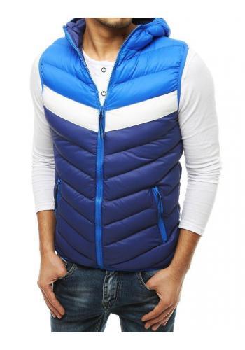 Pánská prošívaná vesta s kapucí v tmavě modré barvě