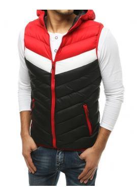 Černo-červená prošívaná vesta s kapucí pro pány