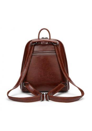 Hnědý voskovaný elegantní batoh pro dámy