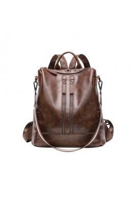 Voskovaný elegantní dámský batoh hnědé barvy