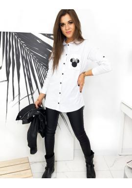 Dámská prodloužená košile s potiskem Mickey v bílé barvě