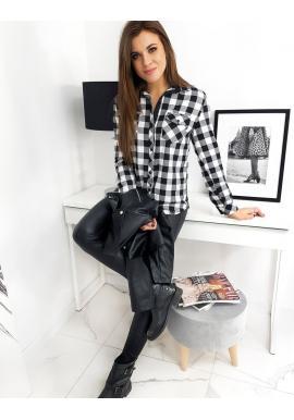 Černobílá kostkovaná košile s dlouhým rukávem pro dámy
