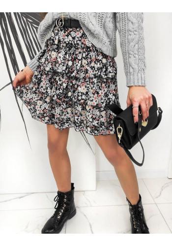 Krátká dámská sukně šedé barvy s květinovým motivem
