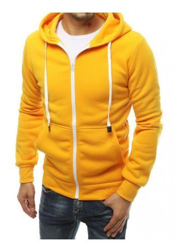 Žlutá klasická mikina na zip pro pány