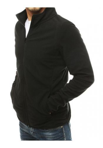 Klasická zapínaná pánská mikina černé barvy bez kapuce