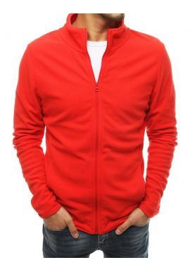 Klasická zapínaná pánská mikina červené barvy bez kapuce