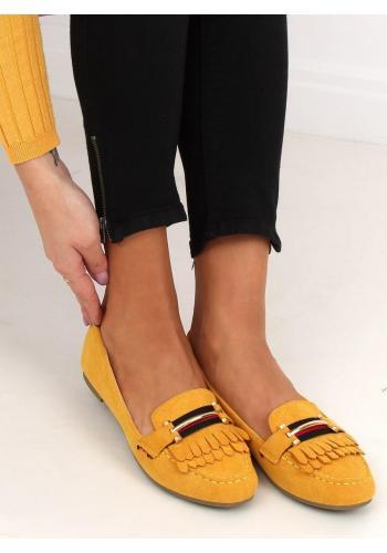 Dámské semišové mokasíny s ozdobou ve žluté barvě