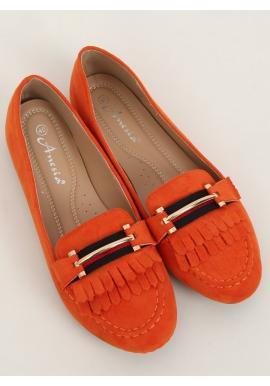 Oranžové semišové mokasíny s ozdobou pro dámy