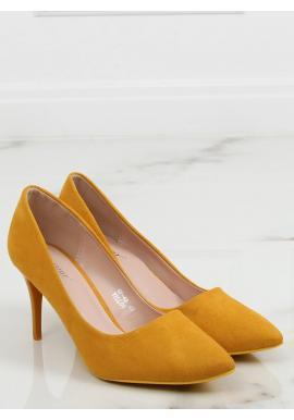 Semišové dámské lodičky žluté barvy na štíhlém podpatku
