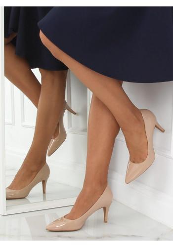 Béžové lakované lodičky na stabilním podpatku pro dámy