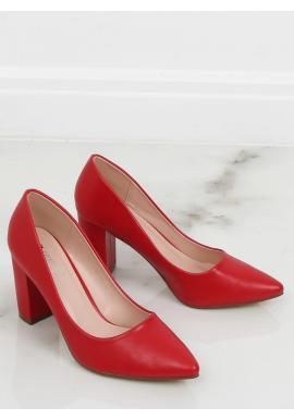 Dámské matné lodičky na stabilním podpatku v červené barvě
