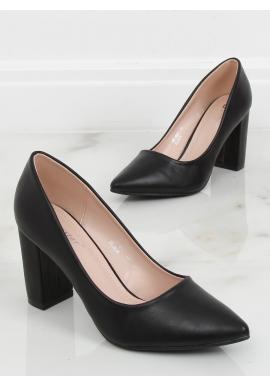 Matné dámské lodičky černé barvy na stabilním podpatku