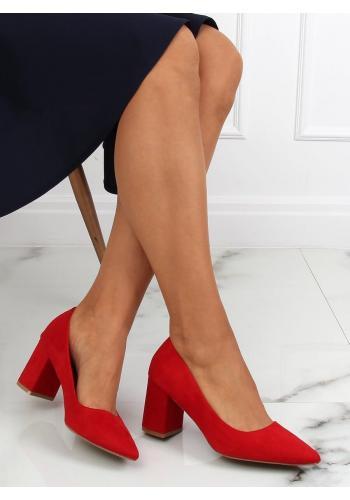 Červené semišové lodičky na stabilním podpatku pro dámy
