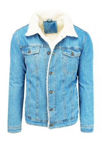 Riflová pánská bunda světle modré barvy s kožešinou ve slevě