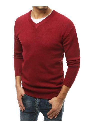 Klasický pánský svetr bordové barvy s véčkovým výstřihem