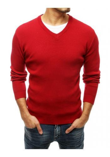 Pánský klasický svetr s véčkovým výstřihem v červené barvě