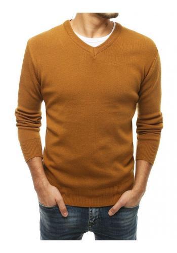 Hnědý klasický svetr s véčkovým výstřihem pro pány