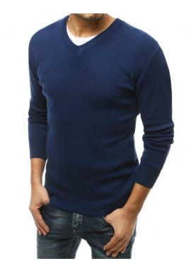 Klasické pánské svetry modré barvy s véčkovým výstřihem