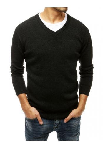 Pánský klasický svetr s véčkovým výstřihem v tmavě šedé barvě