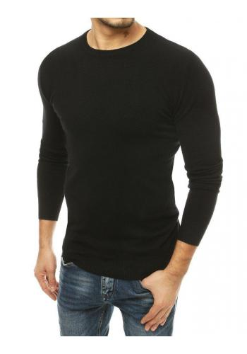 Pánský klasický svetr s kulatým výstřihem v černé barvě