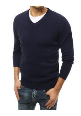 Tmavě modrý módní svetr s véčkovým výstřihem pro pány