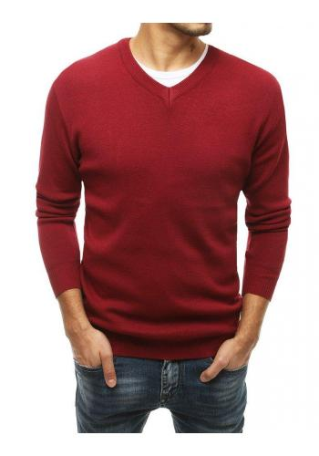 Módní pánský svetr bordové barvy s véčkovým výstřihem