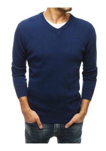 Pánský módní svetr s véčkovým výstřihem v modré barvě
