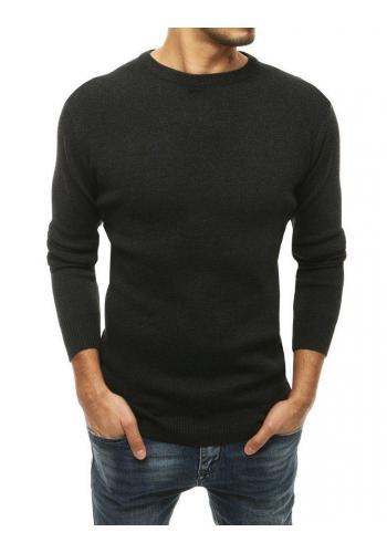 Tmavě šedý klasický svetr s kulatým výstřihem pro pány