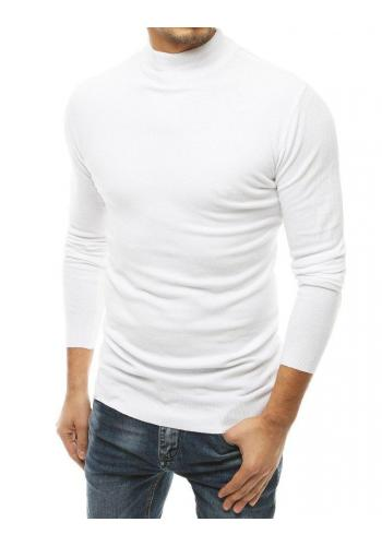 Bílý stylový svetr s polrolákem pro pány
