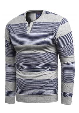 Pánský proužkovaný svetr v šedo-modré barvě