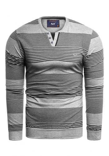 Pruhovaný pánský svetr šedo-černé barvy
