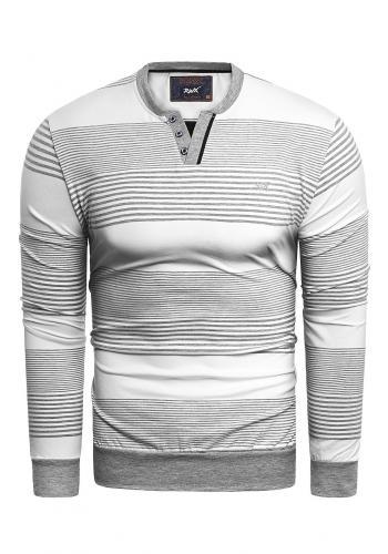 Bílý proužkovaný svetr pro pány