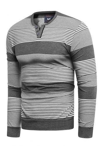Pánské proužkované svetry v tmavě šedé barvě
