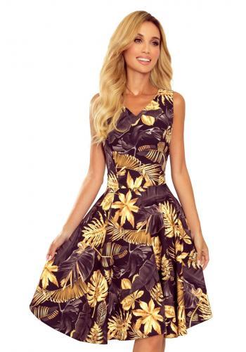 Dámské rozšířené šaty s listy v černo-žluté barvě