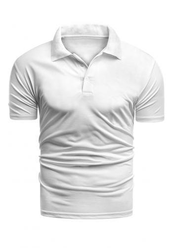 Bílá vypasovaná polokošile s třemi knoflíky pro pány ve slevě
