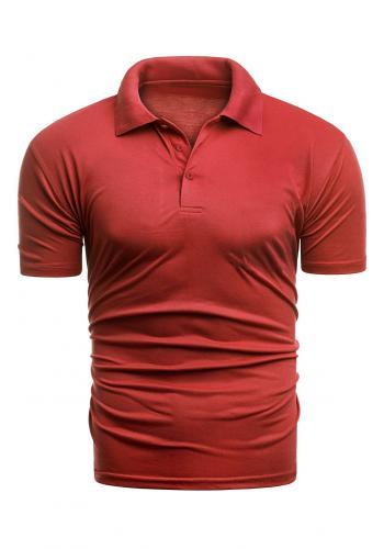 Vypasovaná pánská polokošile červené barvy s třemi knoflíky v akci