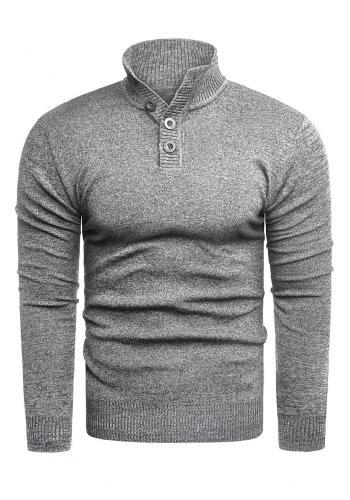 Šedý módní svetr se zapínaným výstřihem pro pány ve slevě